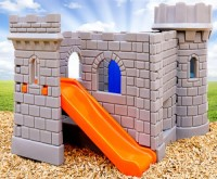 Grey Castle Playhouse with Turrets and Arched Windows and orange Slide