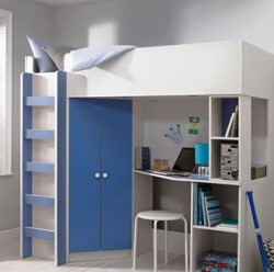 High Sleeper Bed in white and blue with double wardrobe, desk and shelves.