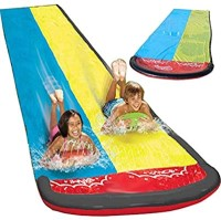 children's long, garden water slide. Red, blue and yellow