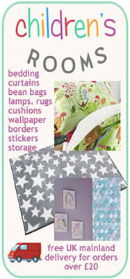 Children's Rooms Banner for bedding, curtains and bedroom accessories.