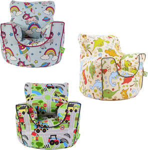 Comfy bean bag armchairs for children. Assorted designs.