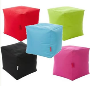 Square bean cubes, from Very, in a choice of aqua, black, green, pink and red. Water resistant fabric