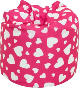 Girl's pink bean bag patterned with white love hearts.