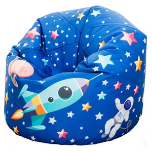 Child's large space themed bean bag. Dark Blue.