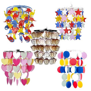 Children's chandelier type hanging ceiling shades. Multi coloured love hearts, stars or dinosaurs.