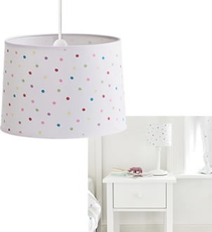 White ceiling shade and bedside lamp in white with a multi colour spot design.