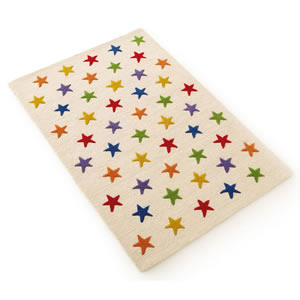 Children's large white, wool rug patterned with colourful stars.