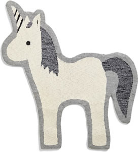 Cream and grey unicorn shaped bedroom rug. Measures 90 x 78 cm.