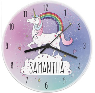 Girl's personalized unicorn wall clock in pink and blue.
