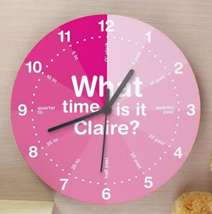 Pink wooden 'Tell The Time' Bedroom Wall Clock.