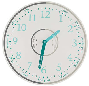 Time teacher wall clock in white and grey.