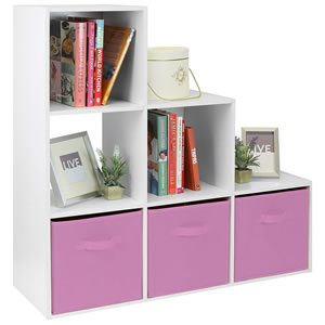 Pink and white storage unit with shelves and 3 storage boxes.