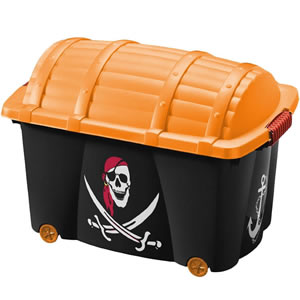 Black and gold pirate themed toy trunk on wheels.