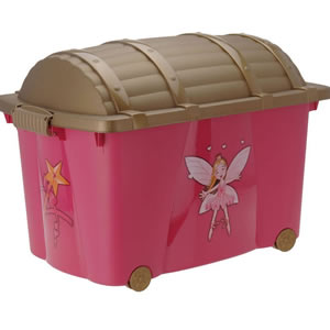 Girl's large, pink princess themed toy chest on wheels.