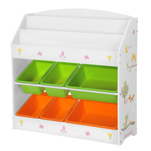 Mainly white unit which consists of a bookcase with toy storage bins underneath.