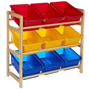 9 bin unit in a wooden frame. Red, yellow and blue bins for toys and games.