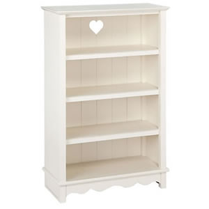 Large white traditional bookcase with cut out heart design from John Lewis