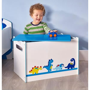 White and blue dinosaur themed toy box