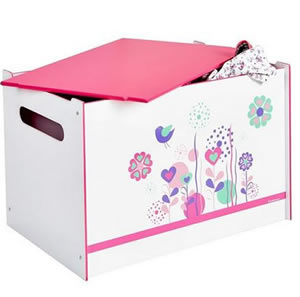 Pink and white large toy box with a floral and song bird theme.