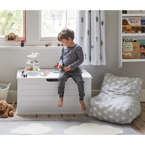 Large classic, white toy box.