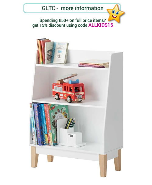 Kids contemporary, white bookcase. Stylish with 2 shelves and shaped wooden feet.