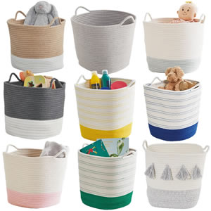 A selection of rope toy baskets in various designs from GLTC