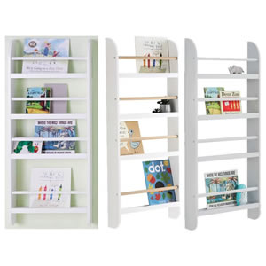Wall mounted slot type bookcases in two widths.