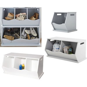 Single, double and treble stacking storage boxes in white and grey
