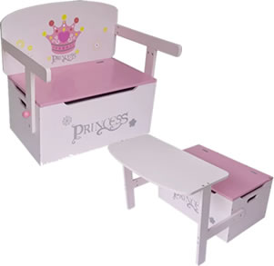 Pink and white princess toy bench which converts into a table and seat.