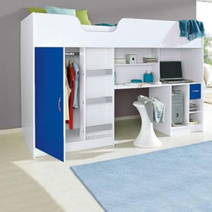 Children's High Sleeper Bed with wardrobe, shelves, desk and drawer.