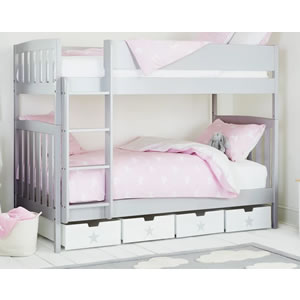 Pale grey bunk beds.