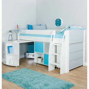 Stompa white cabin bed with storage, drawers and pull out desk.