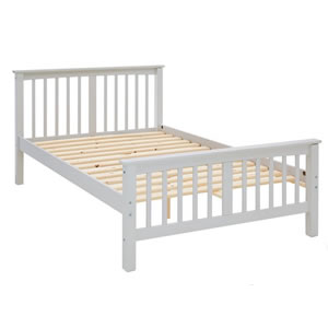 Small double pine bed in grey