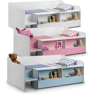 Single day bed with drawers and cupboards, White, white/pink or white/blue.