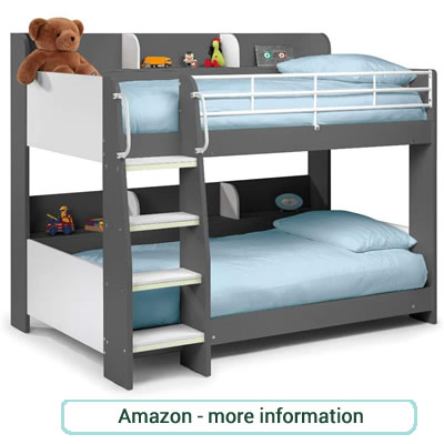 Dark grey and white bunk beds with side storage and metal safety rail.