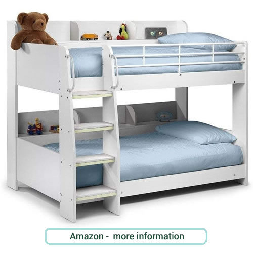 Traditional wooden bunk beds with slatted end boards, safety rails in dark pine, white or grey.
