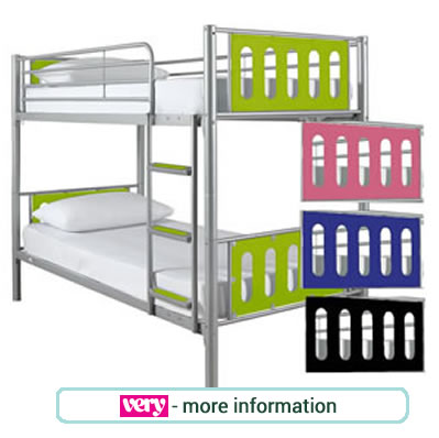 Metal frame bunk beds with a choice of green, red, blue or black end panels.