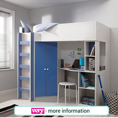White high sleeper bed with blue double wardrobe, shelves and desk.