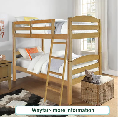 Traditional bunk beds in natural rubberwood with slanted ladder.
