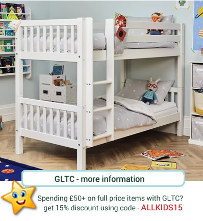 White wooden bunk beds with slatted end boards, safety rail and attached ladder.