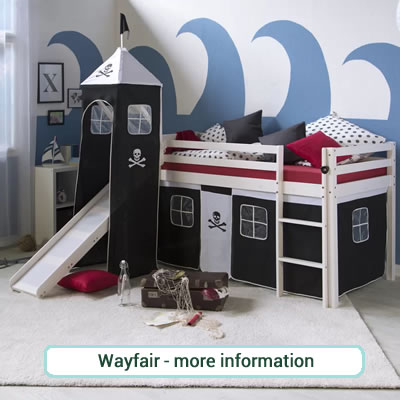 Pirate themed pine mid sleeper play bed. Black and white Tower and Tent Curtains.