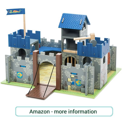 Excalibur, Wooden Fort. Grey and blue, painted castle with turrets, battlements and drawbridge.