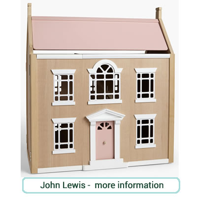 Large wooden dolls house, double fronted. white window and door frames pink door and roof.