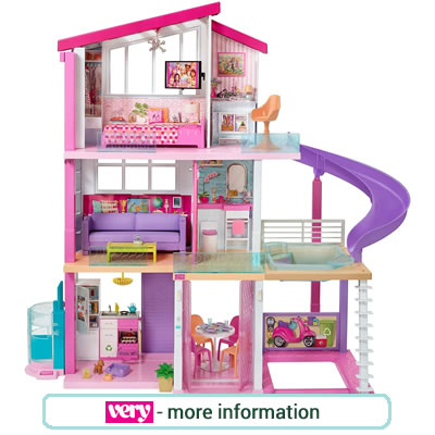 Large, pink and lilac three storey Barbie Dream House.