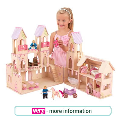 Pink, wooden princess castle from Kidcraft. Includes 4 dolls and 14 accessories
