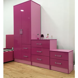 Pink two tone bedroom set with wardrobe, chest and bedside cabinet.