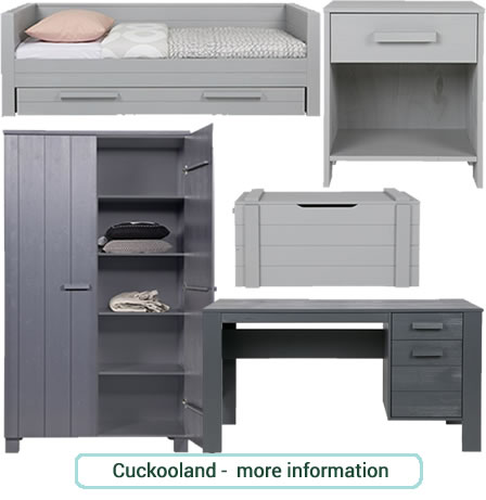 Boys, grey bedroom furniture set - wardrobe, bedside table, storage and desk from the Dennis range at Cuckooland.