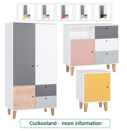 Stunning, modern children's bedroom furniture in bright pastel colours.
