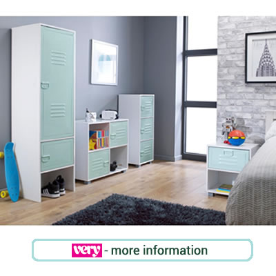 Ultra contemporary, duck egg blue, metal bedroom furniture for children.