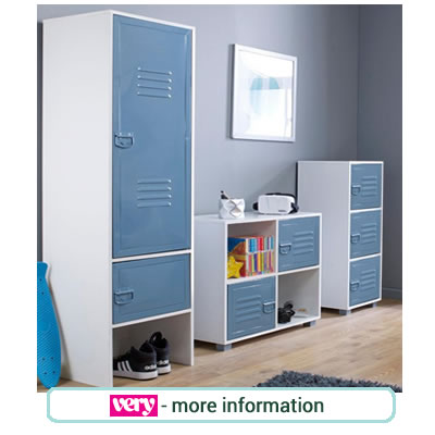 Ultra contemporary, blue, metal bedroom furniture for children.